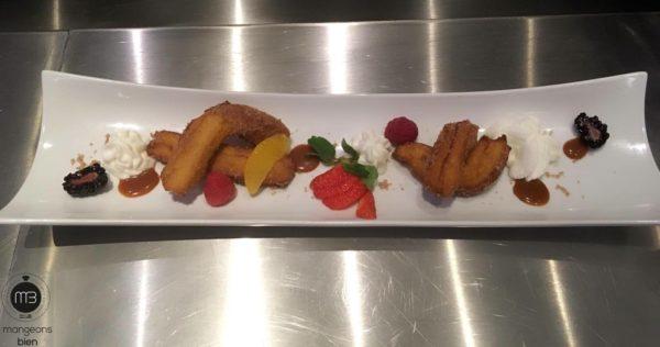 """Une présentation créative des """"churros"""" (Crédit Photo: chef Khelil BEN AMMAR - mangeonsbien.tn)"""