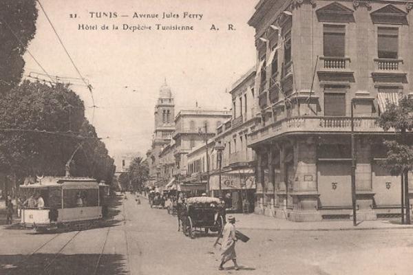 tunis-avenue-jules-ferry-hotel-de-la-depeche-tunisienne-mit-strassenbahn